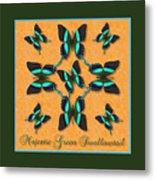 Majestic Green Swallowtail Wheel Metal Print