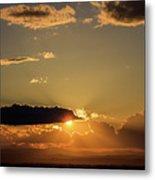 Majestic Vivid Sunset/sunrise With Dark Heavy Clouds And Sunrays Metal Print