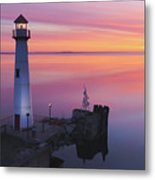 Majestic Wawatam Lighthouse In Stunning Predawn Light Metal Print