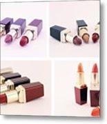 Makeup Set Of Lipsticks Isolated Metal Print