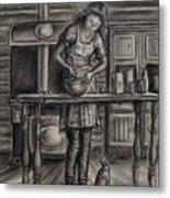 Making Bread In The Cabin Metal Print