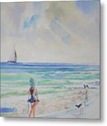 Making Friends At The Beach Metal Print