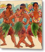Male Dancers Of Lifuka, Tonga Metal Print