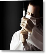 Male Doctor With Needle Syringe On Dark Background Metal Print