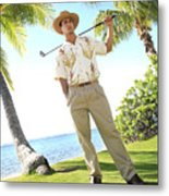 Male Golfer Metal Print by Brandon Tabiolo - Printscapes