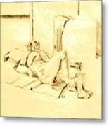 Male Nude Reclining On Cushion Metal Print