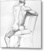Male Nude With Chair Metal Print