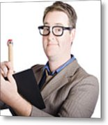 Male Office Pa Writing In Diary. Event Planner Metal Print by Jorgo Photography - Wall Art Gallery