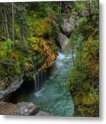 Maligne Canyon Falls Jasper National Park Metal Print