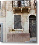 Maltese House On A Steep Street Metal Print