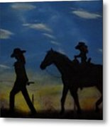 Mama And Daughter Going Fishing Metal Print