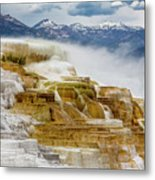Mammoth Hot Springs In Yellowstone National Park, Wyoming. Metal Print