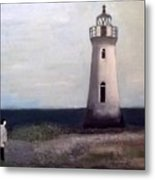 Man And Lighthouse Metal Print