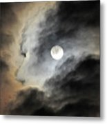Man And Moon Metal Print