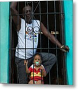 Man And Son In The Window Metal Print