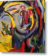 Man And Woman With Clowns And Divas Metal Print
