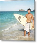 Man At The Beach With Surfboard Metal Print by Brandon Tabiolo - Printscapes
