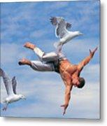 Man Being Carried By Bird Metal Print