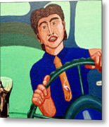 Man Driving With Coke Metal Print