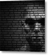 Man Face Blended With Flowing List Of Motivational Words Metal Print