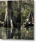 Man Fishing In Cypress Swamp Metal Print