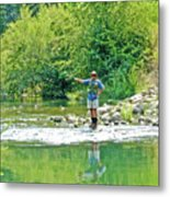 Man Fly Fishing In Canyon Creek Near Winters-california Metal Print