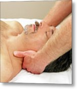 Man Getting Neck Massage Metal Print