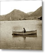 Man In A Row Boat Named Lizzie On Palmer Lake On The Colorado Di Metal Print