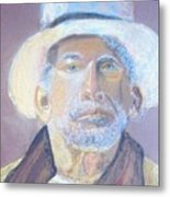 Man In A Straw Hat Metal Print