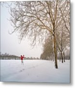 Man In Red Taking Picture Of Snowy Field And Trees Metal Print