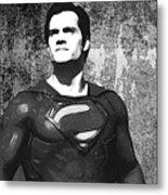 Man Of Steel Monochrome Metal Print