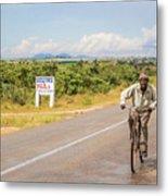 Man On Bicycle In Zambia Metal Print