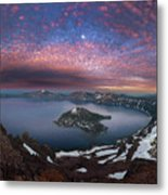 Man On Hilltop Viewing Crater Lake With Full Moon Metal Print