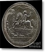 Man Riding Towards A Cliff Carrying A Scroll [reverse] Metal Print