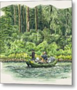 Man Rows Woman Metal Print
