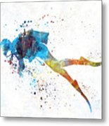 Man Scuba Diver 01 In Watercolor Metal Print