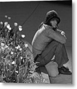 Man Sitting Along Curb  Metal Print