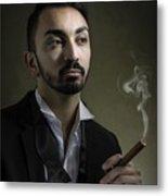 Man Smoking A Cigar Metal Print