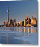 Man Standing On Frozen Lake Ontario Ice Looking At Toronto City  Metal Print