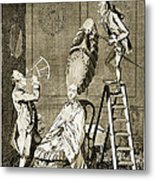 Man Using Sextant On Womans Coiffure Metal Print