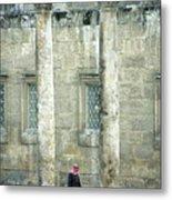 Man Walking Between Columns At The Roman Theatre Metal Print