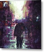 Man Walking Under Umbrella Metal Print