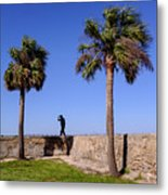 Man With A Hat On The Wall With Palm Trees In Saint Augustine Fl Metal Print