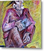 Man With Book Metal Print