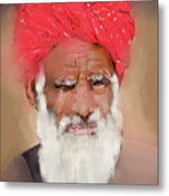 Man With Red Headwrap Metal Print