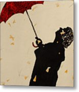 Man With Red Umbrella    Metal Print
