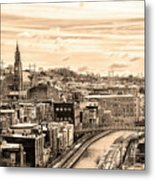 Manayunk In March - Canal View In Sepia Metal Print