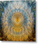 Mandala From The Garden 2 - Flower Feather Shield Metal Print