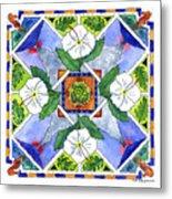 Mandala IIi - White Hibiscus Metal Print