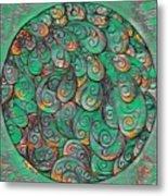 Mandala In Green Metal Print